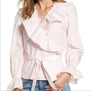 NWT Rachel Pacell Soft Pink Ruffle Wrap Top